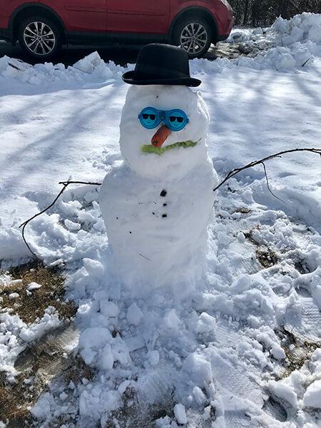 Maine winter snowman